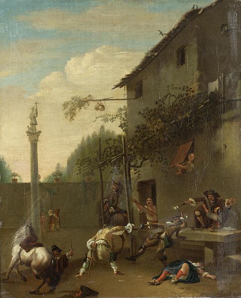 File:Roeland van Laar - soldiers fighting outside an inn.jpg