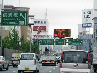 Highway network in Osaka, Kobe and Kyoto in Japan.