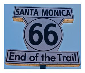 Santa Monica State Beach - Santa Monica Pier, Route 66 Sign