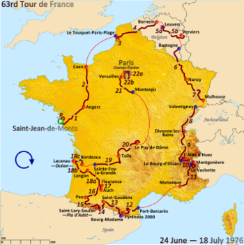 Map of France with the route of the 1976 Tour de France