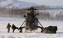 A Royal Navy Westland Sea King HC4 of the Commando Helicopter Force seen in Norway during Arctic flying training in 2012.