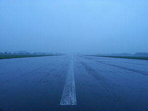 Sint-Truiden Air Base - Image: Runway Airport Brustem in the evening