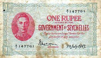 Seychellois rupee - One rupee banknote of 1943.