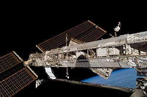 US Orbital Segment - Image taken during STS-122 in 2008 showing an ITS segment with solar array attached at one end.