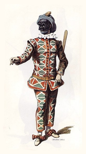 "Harlequin - The classical appearance of the Harlequin stock character in the commedia dell'arte of the 1670s, complete with batte or ""slapstick"", a magic wand used by the character to change the scenery of the play (Maurice Sand, 1860)"