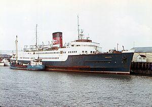 SS Invicta (1939) - Invicta in Sealink livery at Newhaven, 1971