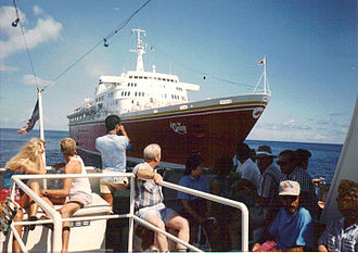 SS Oceanic (1965) - StarShip Oceanic in her first Premier Cruises Livery.