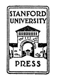 "The words ""Stanford University Press"" superimposed on a line drawing of one of the gates to the main quad"