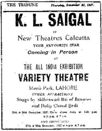 K. L. Saigal - Advertisement for Saigal program published in The Tribune in 1937.