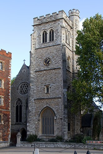 Lambeth - The tower of St Mary-at-Lambeth constructed in 1377.