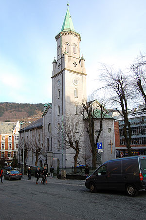 Immigration to Norway - Saint Paul Catholic Church, Bergen.  Catholicism in Norway has grown from recent immigration, notably by Poles