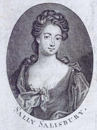 Sally Salisbury - Engraving of Sally Salisbury from the Authentic Memoirs of the Life, Intrigues and Adventures of the Celebrated Sally Salisbury (1723)