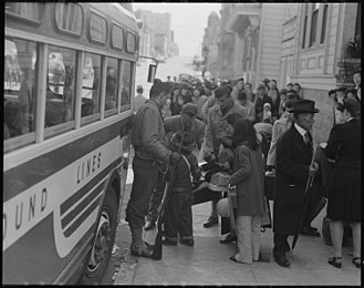 History of the Japanese in San Francisco - Japanese Americans in the process of being removed from San Francisco during World War II.