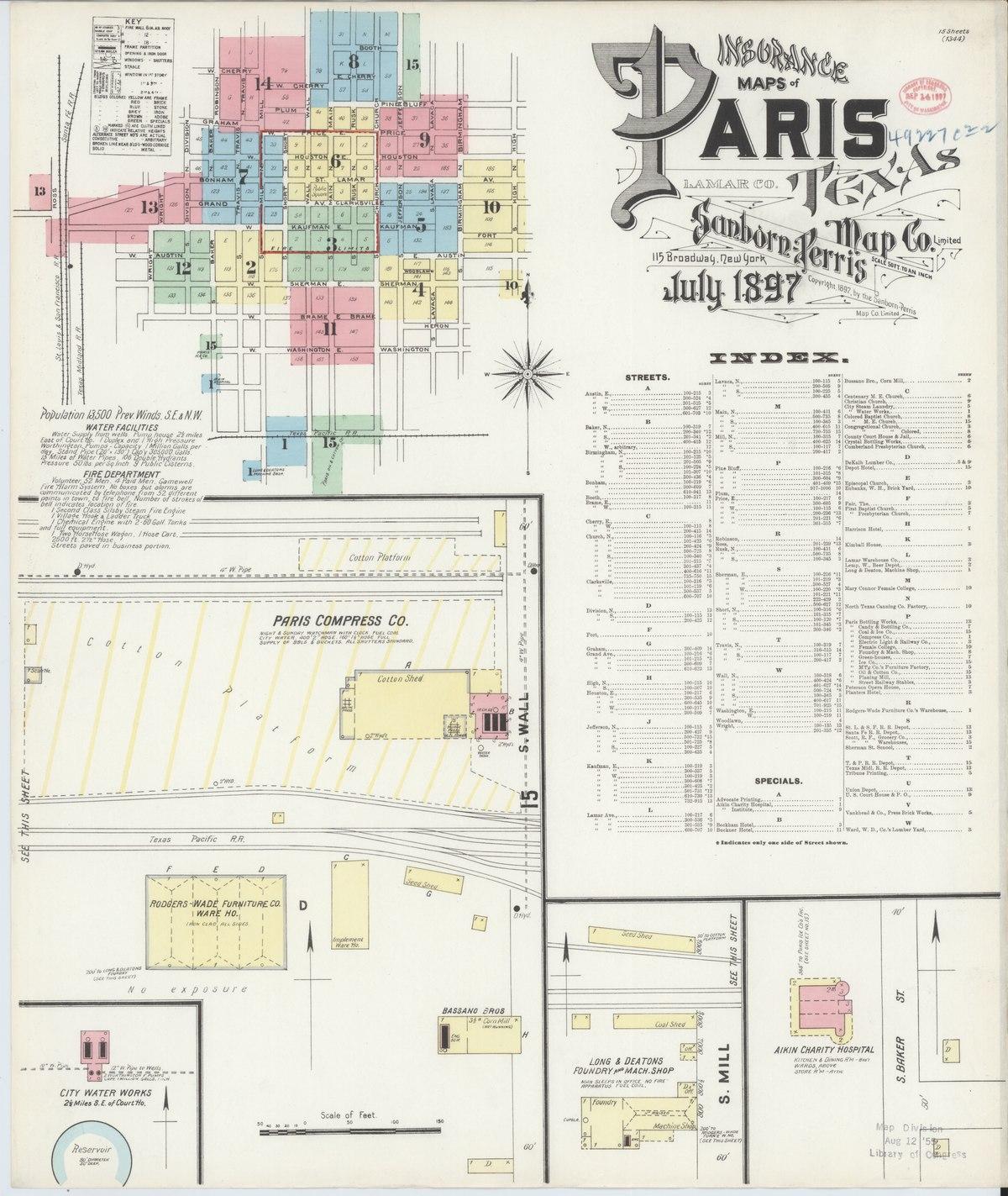 File:Sanborn Fire Insurance Map from Paris, Lamar County ...