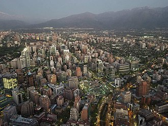 Northwestern Las Condes From Sky Costanera at dusk, Oct. 2018 Santiago from sky costanera 2018.jpg