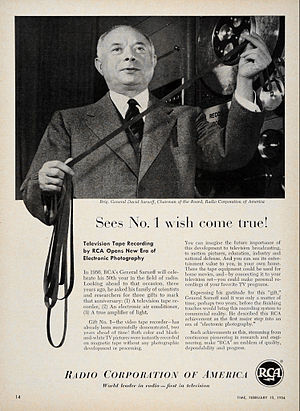 David Sarnoff - Sarnoff with the first RCA videotape recorder in 1954
