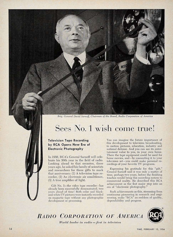 Sarnoff RCA videotape recorder 1954