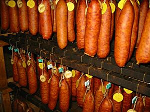 Morteau sausage - Morteau sausage being smoked