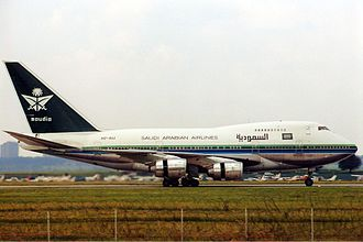 Saudia - A Saudi Arabian Airlines Boeing 747SP lands at Stuttgart Airport, Germany. (1989)
