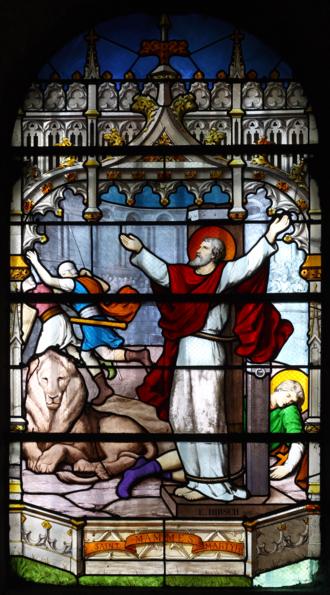 Mammes of Caesarea - St Mammes, stained-glass window by Emile Hirsch; Église Saint-Jean-Baptiste, Sceaux