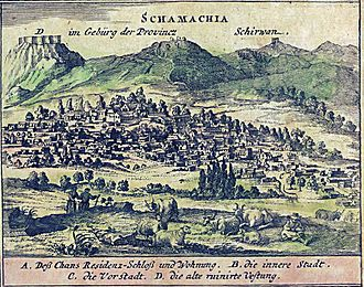 Shamakhi - 1683 illustration of Shamakhi by Engelbert Kaempfer (published 1734)