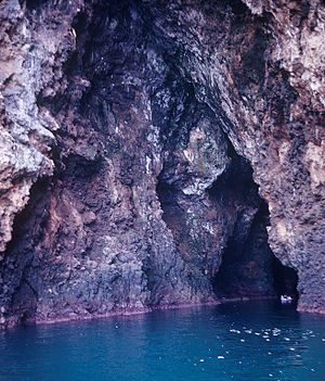 Sea cave - Sea cave formation along a fault on Santa Cruz Island, California, United States