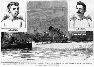 World Sculling Championship - Engraving printed in the Illustrated London News in September 1889 for the match between Henry Ernest Searle of Australia and William Joseph O'Connor of Canada