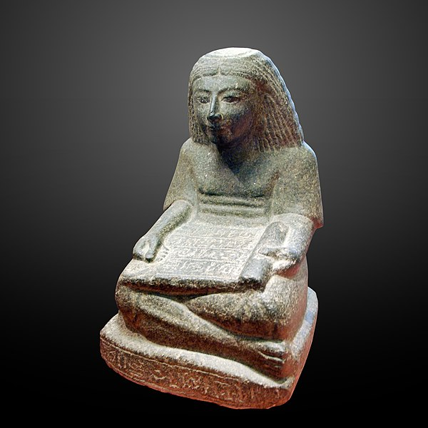 File:Seated scribe with papyrus scroll Louvre-gradient.jpg