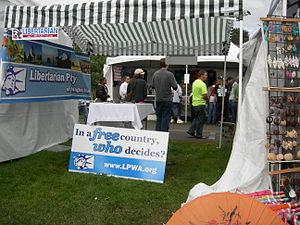Libertarian Party booth, Seattle Hempfest, 2007.