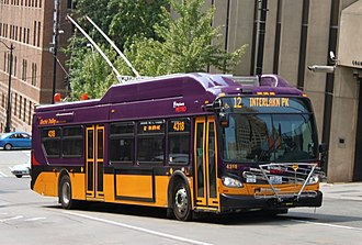 Trolleybuses in Seattle - New Flyer XT40 trolleybus in downtown on route 12 to Interlaken Park
