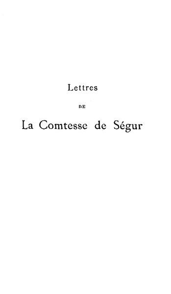 File:Segur - Lettres de la comtesse de Segur.djvu