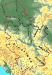 Szerbia domborzati térképe