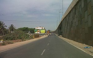 Frontage road - Service Lane on Bangalore elevated tollway on Tumkur Road, Bangalore.