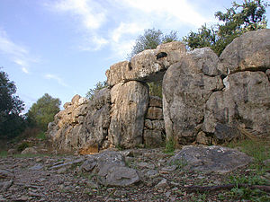 Talaiotic culture - Entrance and wall of the Talaiotic village of Ses Païsses, Majorca.