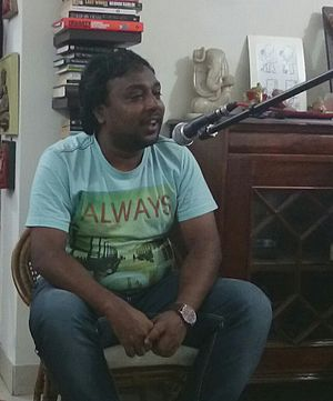 Shabbir Ahmed (lyricist) - Shabbir Ahmed reciting poetry in a poetry event organized by Poets Corner Group on 14 September 2014 in Mumbai.