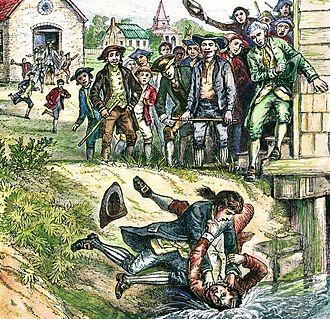 Shays' Rebellion - Artist's depiction of protesters watching a debtor in a scuffle with a tax collector by the courthouse at Springfield, Massachusetts. The insurrection was a tax-related rebellion.