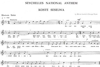 Koste Seselwa - Image: Sheet Music Anthem of Seychelles