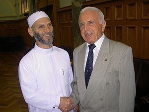 Islam in New Zealand - Sheikh Airot, previous imam of Ponsonby Mosque (Auckland), and Mazhar Krasniqi at the Silver Jubilee celebrations of the Federation of Islamic Associations of New Zealand, 16 November 2005, Parliament House, Wellington
