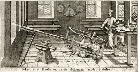 Scheiner's helioscope as illustrated in his book Rosa Ursina sive Sol (1626-30) Sheiner Viewing Sunspots 1625.jpg