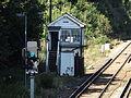 Shepherds Well railway station, Signal box, EG05, August 2013.JPG