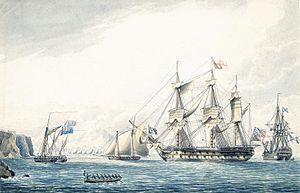 Roebuck-class ship - Image: Ship Argo with russian ship 1799, Gibraltar
