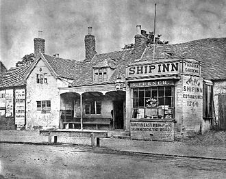 Battle of Camp Hill - The Ship Inn in the mid-1860s. It was demolished in 1867.