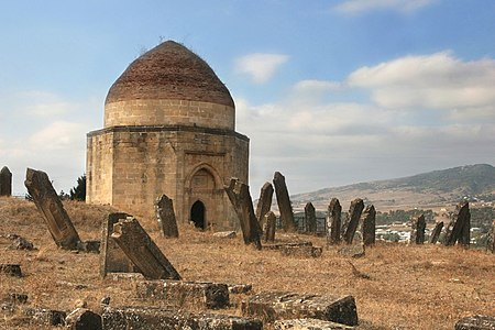 The mysterious and spooky 15th century Shirvan Dynasty mausoleum and graveyard in Shamakhi, Azerbaijan.