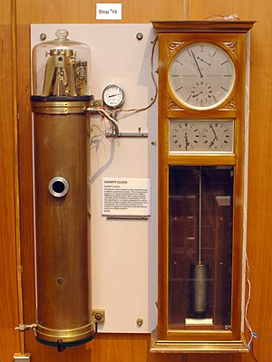 Pendulum - A Shortt-Synchronome free pendulum clock, the most accurate pendulum clock ever made, at the NIST museum, Gaithersburg, MD, USA. It kept time with two synchronized pendulums. The master pendulum in the vacuum tank (left) swung free of virtually any disturbance, and controlled the slave pendulum in the clock case (right) which performed the impulsing and timekeeping tasks. Its accuracy was about a second per year.