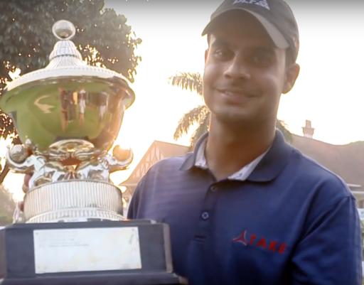 Shubhankar Sharma after winning 2017 Professional Golf Tour of India Tour Championship