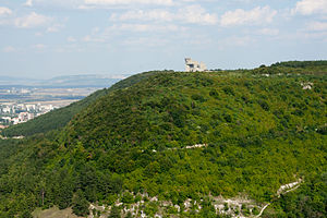 "Shumen Plateau Nature Park - ""Creators of the Bulgarian State"" monument on the top of a hill in the park"
