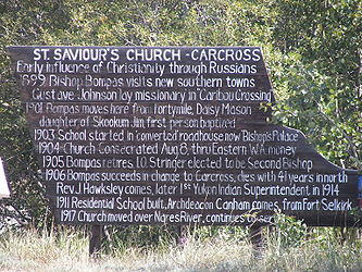 Sign 2 for Saint Saviour's Anglican Church, Carcross, Yukon.jpg