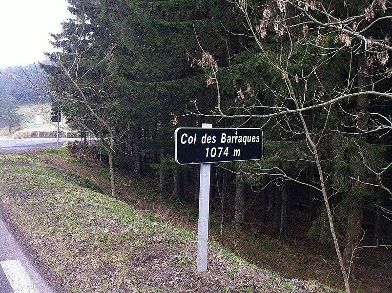 Sign indicating Col des Barraques.