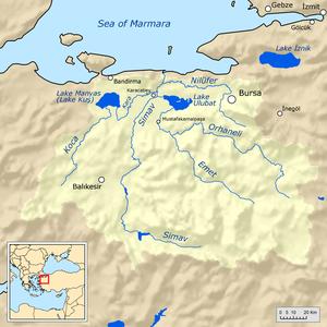 Simav River - Map of the Simav River basin