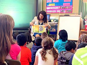 """Aravella Simotas - Simotas reads to students during a """"Proud to Read Aloud"""" event at P.S. 70 in Astoria, Queens. May 2013"""